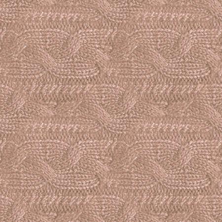 Brown Woolen Thread. Organic Knitted Texture. Jacquard Winter Embroidery. Structure Nordic Blanket. Knitting Woolen Thread. Beige Christmas Wallpaper. Seamless Fabric. Knit Woolen Thread.