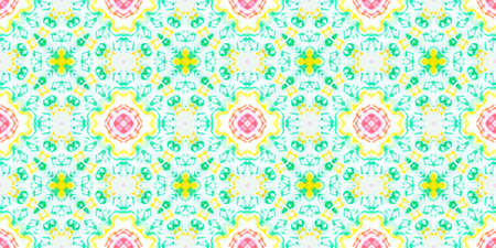 Seamless Watercolor Spanish Tile. Geometric Bohemian Ceramic. Italian Decoration. Oriental Native Ethnic Motif. Green Spanish Tile Pattern.