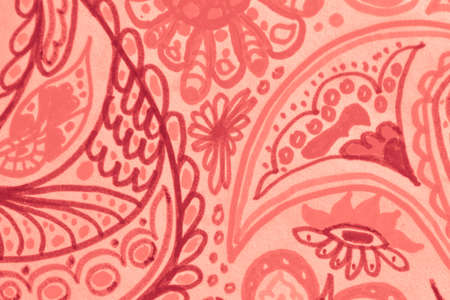Pantone Moroccan Floral Pattern. Exotic Batik Print. Coral Tropical Indian Leaf. Hand Drawn Watercolor. Islamic Flower Pattern. Red Batik Wallpaper. Abstract Inked Background.