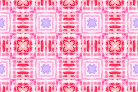 Dutch Tiles. Ornamental Ethnic Motif. Colorful and Red. Abstract Aquarelle Background. Painted Fabric Design. Seamless Dutch Tiles Pattern. Stock Photo