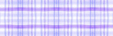 White Flannel Checks. Watercolor Tartan Pattern. Man Checkered Background. Seamless Flannel Checks. Celtic Kilt Print. Woven Traditional Twill. Purple Picnic Border. Flannel Checks. Foto de archivo