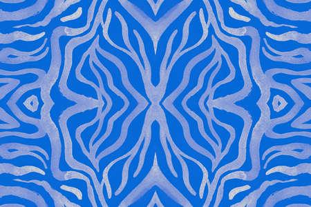 Seamless Zebra Skin. Blue Cheetah Background. Fashion Zoo Texture. Camouflage Safari Fabric. White Animal Skin. Seamless Wildlife Background. Abstract Zoo Pattern. Tiger Skin. African Background. Stockfoto
