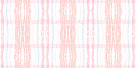 Watercolour Pink Check. Beige Picnic Pattern. Scotland Textured Cloth. Seamless Pink Check. Geometric Ornament with Watercolor Squares. Simple Tartan Texture. Vintage Textile. Pink Check. Archivio Fotografico
