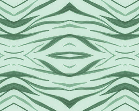 Green Seamless Animal Pattern. Abstract Africa Texture. Zoo Safari Fur. Watercolour Stripes Repeat. Zebra Pattern. Green Fashion Africa Background. Seamless Animal Pattern. Zoo Tiger Fur.
