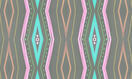 Seamless Tribal Ornament. Gray African Ethnic Pattern. Hand Drawn Batik Border. Geometric Bohemian Design. Gray Tribal Background. Geometric Ethnic Wallpaper. Mexican Tribal Background.