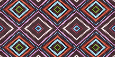 Seamless Rhombus Pattern. Painted Color Stripes Textile. Blue Watercolor Ikat Tile. Diamond Pattern. Organic Aztec Ornament. Fashion African Design. Aztec Background. Diamond Pattern.