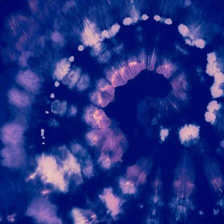 Indigo Tie Dye. Artistic Old Design. Hippie Circle Painting. Pink Tye Dye Style. Spiral Background. Abstract Batik Print. Grunge Swirl Texture. Circular Kaleidoscope. Color Indigo Tie Dye. Foto de archivo