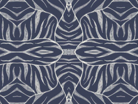 Seamless Animal Fur Texture. Watercolour African Print. Grey Abstract Wild Ornament. Tiger Stripe Fabric. Zebra Skin Texture. Watercolour African Design. Blue Seamless Animal Skin Texture.