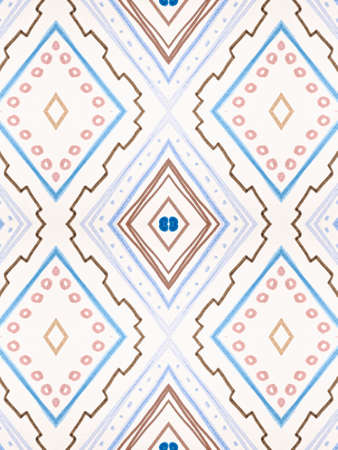 Blue Ethnic Pattern. Vintage Zig Zag Ornament. Stripe Textile Design. Seamless Indian Border. Watercolor Ethnic Pattern. Brush Paint Zigzag Wallpaper. Native Border. Abstract Ethnic Pattern.