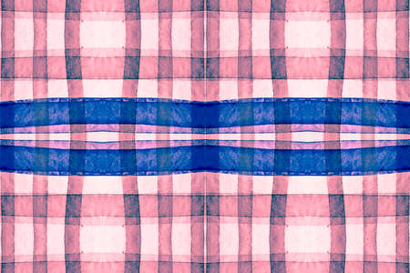 Watercolour Scotland Fabric. Red Stripes Textile. Seamless Graphic Tile Print. Textured Background. Modern Scotland Fabric. Blue Traditional Tweed. Blue Check Material. Retro Scotland Fabric. Reklamní fotografie