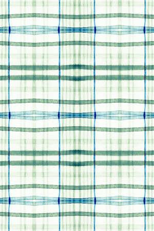 Watercolour Scottish Print. Green Tartan Pattern. Seamless Trendy Tile Design. Gingham Background. Rustic Scottish Print. Blue Traditional Twill. Green Picnic Border. Woven Scottish Print.