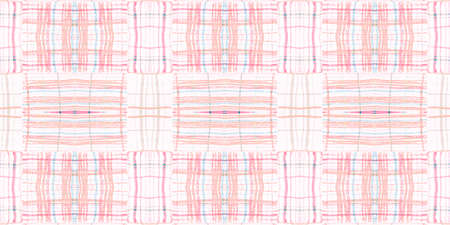 Watercolour Pink Check. Nude Picnic Fabric. Celtic Textured Tweed. Seamless Pink Check. Traditional Wallpaper with Watercolor Stripes. Retro Plaid Texture. Modern Blanket. Pink Check.