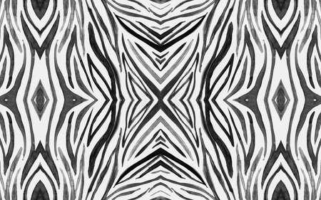 Seamless Zebra Repeat. Fashion African Texture. Watercolor Jungle Fur. Gray Wildlife Background. Black Zebra Pattern. Fashion Animal Design. White Camouflage Ornament. Seamless Zebra Lines.