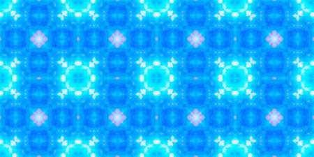 Seamless Watercolor Tile Print. Geometric Ethnic Mosaic Design. Blue and White Colors. Abstract Aquarelle Tie Dye Ceramic. Abstract Watercolor Print Design.