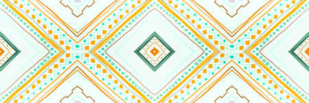Ethnic Diamond. Drawn by Hand Zigzags Ornament. Seamless Watercolor Aztec Tile. Traditional Stripes Textile. Abstract Ethnic Diamond Pattern. Zig Zags Background. Ethnic Diamond Pattern.