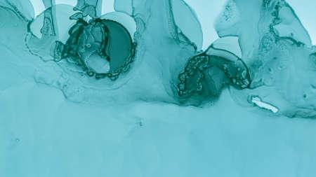 Watercolor Wave Illustration. Watercolor Wave Background. Alcohol Ink Texture. Pastel Fluid Design. Blue Ocean Gradient Abstraction. Green Pastel Fluid Splash. Blue Cloud Creative Abstraction.