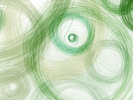 Green Scribble Illustration. Watercolour Radial Texture. Simple Happy Painting. Artistic Fabric Design. Circles Illustration. Color Happy Painting. White Scribble Circles.