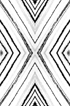 Seamless Geometric Stripes Pattern. Vintage Zigzags Ornament. Monochrome Gray Aztec Diamonds. Geometric Ethnic Cover. Hand Drawn Shapes. Watercolor Textile Print. Geometric Ethnic Pattern.