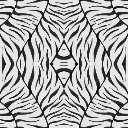 Seamless Zebra Pattern. Watercolour Africa Fur. Gray Fashion Zoo Wallpaper. Safari Lines Design. Zebra Texture. White Camouflage African Print. Seamless Zebra Texture. Zoo Background. 免版税图像