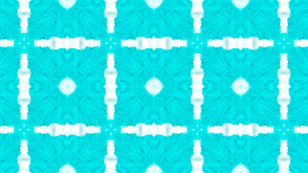 Traditional Ethnic Ornament. Damask or Victorian Style Blue and White Tile. Organic Fabric Design. Abstract Artistic Ethnic Background. Watercolor Traditional Ornament.