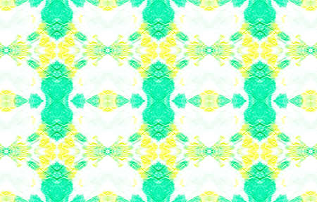 Seamless Watercolor Geometry. Pastel Colors Green and Yellow. Geometric Bohemian Wallpaper. Abstract Rough Swimwear Design. Vintage Color Texture. Tile Ethnic Pattern Design. Banco de Imagens