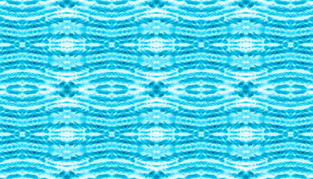Seamless Native Ethnic Pattern. Aquarelle Geometric Ethnic Print. Damask or Victorian Style Blue and White Tile. Color Floor Print. Native Ethnic Watercolor Texture.