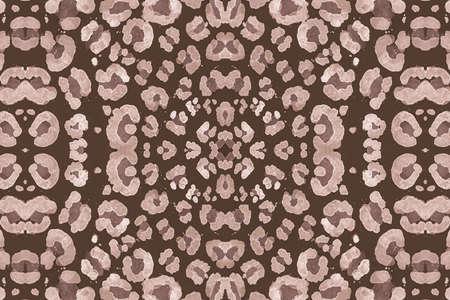 Seamless Leopard Repeat. Brown Ocelot Art Texture. Watercolour Spotted Tropical Wallpaper. Fashion Wild Design. Brown Leopard Artwork. Spotted Jungle Ornament. Seamless Leopard Imitation.