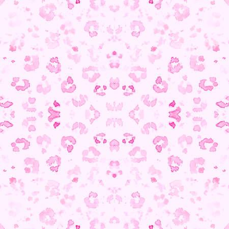 Pink Leopard Pattern. Elegant Giraffe Art Artwork. Seamless Watercolor Spotted Tropical Wallpaper. Pink Fabric Design. Gentle Leopard Rapport. Giraffe Art Imitation. Girly Leopard Texture.
