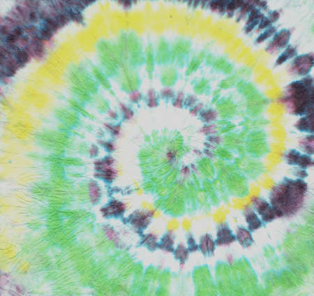 Green Spiral Abstract. Tye Die Print Circle. Circular Background. White Hippie Roll. 1970s Art Effect. White Spiral Pattern. Tye Die Fabric Design. 70s Art Style. Green Spiral Texture.