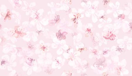 Sakura Vector. Watercolor Rose Tree. Seamless Oriental Chinese Pattern. Romantic Illustration. Sakura Vector. White Cute Print. Apple Leaf. Abstract Japanese Texture. Pink Sakura Vector.