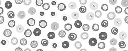 Gray Circles Texture. Grunge Polka Dots Background. Random Ball Elements. Monochrome Watercolor Carpet Print. Seamless White Circles Pattern. Abstract Polka Dots Ornament. Gray Circles Texture. Archivio Fotografico