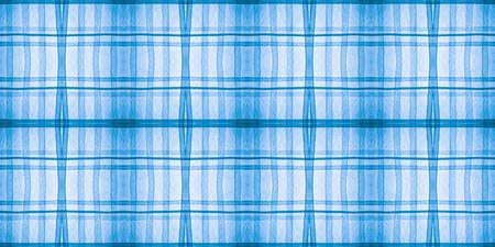 Check Print Design. Watercolour Stripe Textile. Seamless Hipster Gingham Background. English Pattern. Blue Check Print. Kilt Texture. Wool Traditional Tweed. Scotland Check Print Design.