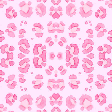Pink Leopard Border. Elegant Giraffe Skin Repeat. Seamless Watercolor Spotted Safari Wallpaper. Pink Coat Design. Girly Leopard Texture. Giraffe Skin Imitation. Female Leopard Rapport. Stock Photo