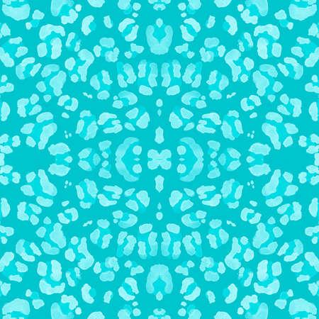 Watercolor Jaguar Skin. Fashion Tiger Fur. Camouflage Safari Wallpaper. Seamless Fabric Design. Blue Spots Repeat. Watercolor Leopard Skin. Fashion Wild Print. Watercolour Jaguar Skin.