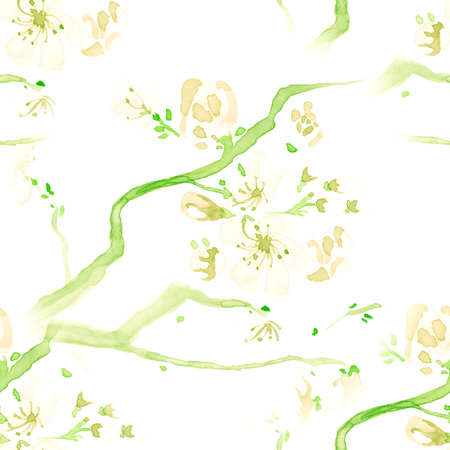 Floral Designs. Seamless Cherry Wallpaper. Japanese Tree Textile. Green Floral Designs Watercolor. Artisctic Ink Painted Card. Yellow Soft Apple Repeat. White Floral Designs Watercolor. 스톡 콘텐츠