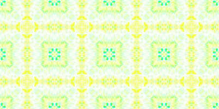 Watercolor Tile Design. Artistic Handdrawn Material Design. Yellow, Green and White. Aquarelle Tie Dye Abstract Ceramic. Watercolor Tile Seamless Pattern.
