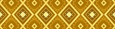 Seamless Gold Aztec Pattern. Abstract Native Ornament. Geometric Batik Motif. Zig Zag Tile Design. Aztec Print. Yellow Native Background. Ikat Fabric Design. Yellow Aztec Pattern. 스톡 콘텐츠