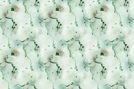 Seamless Chinese Watercolors. Pastel Cherry Branch Pattern. Oriental Asian Wallpaper. Green Chinese Watercolors. Green Ink Painted Spring Fabric. Japan Sakura Repeat. Chinese Watercolors.
