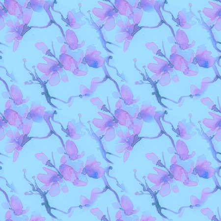 Blossom Cherry Art. Seamless Sakura Painting. Blue Japanese Branch Drawing. Modern Spring Background. Pink Blossom Cherry Art. Romantic Rose Print. Asian Fabric. Blue Blossom Cherry Art.