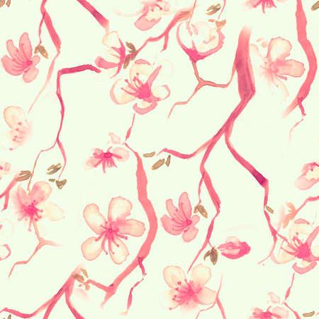 Yellow Watercolor Blossom Flower. Seamless Rose Wallpaper. Japanese Petal Texture. Pink Blossom Flower. Artisctic Wedding Style. Orange Spring Sakura Drawing. Red Blossom Flower.