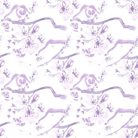 Watercolour Cherry Blossom Tree. Seamless Apple Ornament. Japan Petal Pattern. Pastel Artisctic Cute Texture. Cherry Blossom Tree. Vintage Sakura Fabric. Watercolor Cherry Blossom Tree. Banco de Imagens