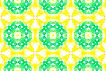 Talavera Pattern. Oriental Native Ethnic Motif. Multi Colorful Background. Aquarelle Geometric Floor. Painted Decoration. Watercolor Azulejos Seamless. 版權商用圖片