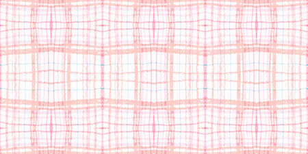 Watercolour Pink Check. Nude Plaid Fabric. Scottish Gingham Prints. Seamless Pink Check. Traditional Tablecloth with Watercolor Stripes. Trendy Picnic Texture. Vintage Repeat. Pink Check.