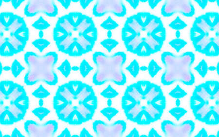 Seamless Watercolour Tile Design. Abstract Aquarelle Dyed Wallpaper. Blue and White Colors. Artistic Ethnic Decor. Abstract Watercolour Tile Pattern. 版權商用圖片