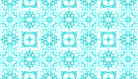Seamless Ceramic Tile. Geometric Vintage Kaleidoscope. Artistic Persian Wall Design. Turquoise and White Colors. Ethnic Texture. Abstract Watercolor Ceramic Tile.