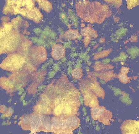 Tie Dye Circle. Unicorn Batik Print. Water