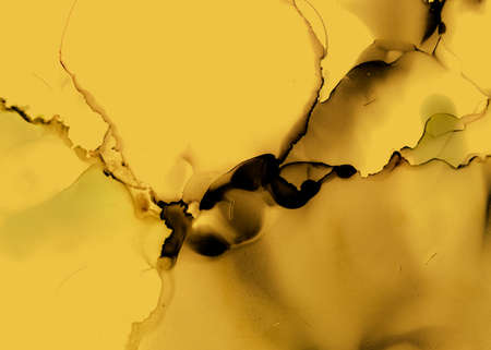 Black and Yellow Abstract Marble Pattern. Dark