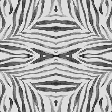 Seamless Zebra Texture. Watercolour Africa Fur. 版權商用圖片