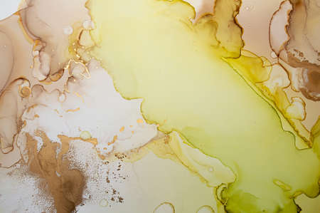 Glitter Abstract Liquid. Alcohol Ink on Canvas. Bright Flow Wallpaper. Fluid Marble Pattern. Abstract Background Liquid. Watercolor Gradient Illustration. Oil Abstract Liquid. Banque d'images