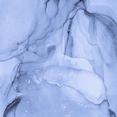 Ink Colours Mix Water. Art Flow Illustration. Indigo Liquid Pattern. Ink Colours Mix. Sophisticated Acrylic Paper. Fluid Abstract Design. Ocean Deep Painting. Blue Oil Print. Marble Mixing Inks. Banque d'images